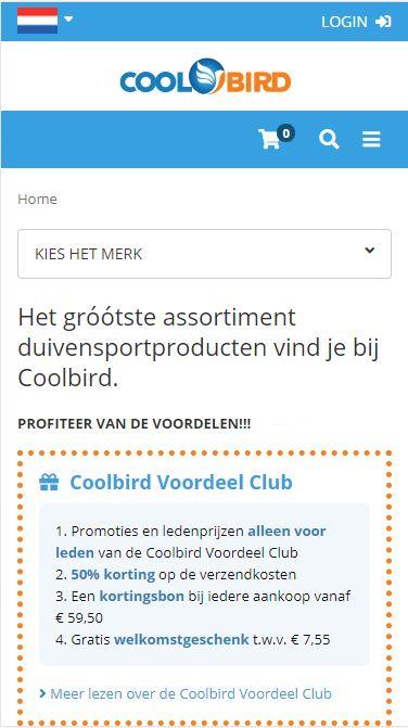 Coolbird webshop duivenproducten
